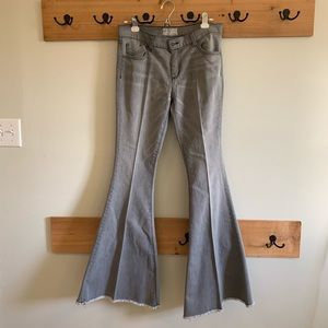 Free People Super Flare Bell Bottom Frayed Jeans